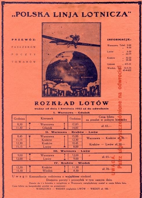 Początek lat 20-tych ubiegłego wieku, powstają pierwsze w Polsce linie lotnicze.